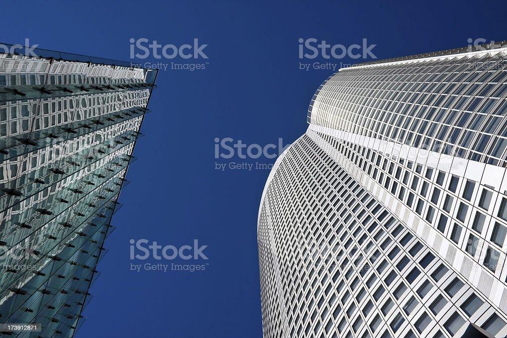 Glass and steel giants stock photo