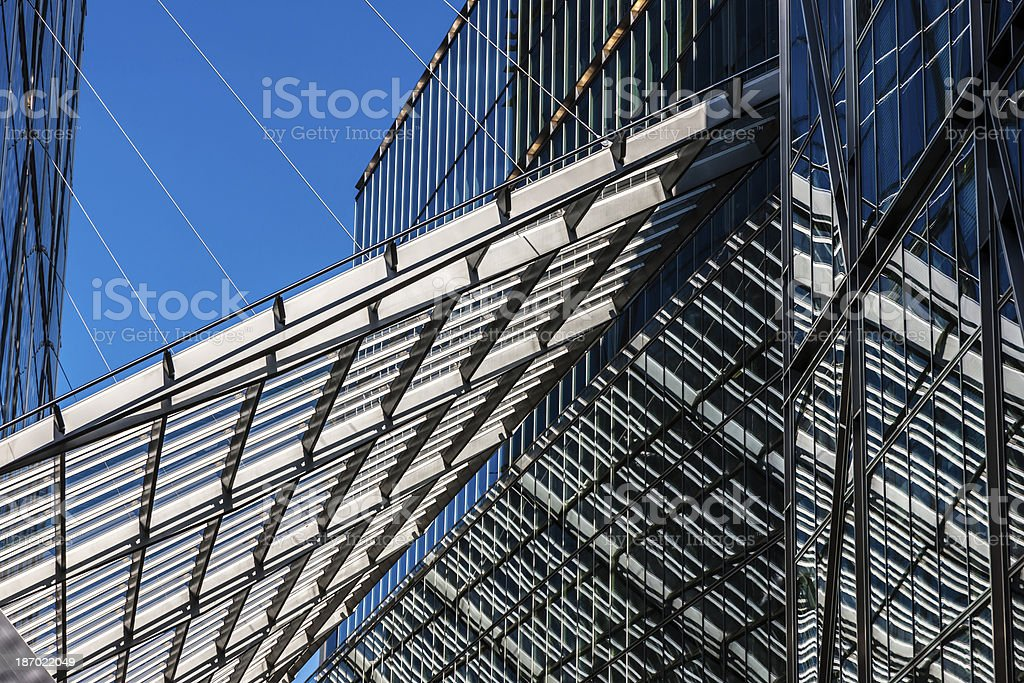 Glass And Steel Roof Hanging Between Modern Office Buildings royalty-free stock photo