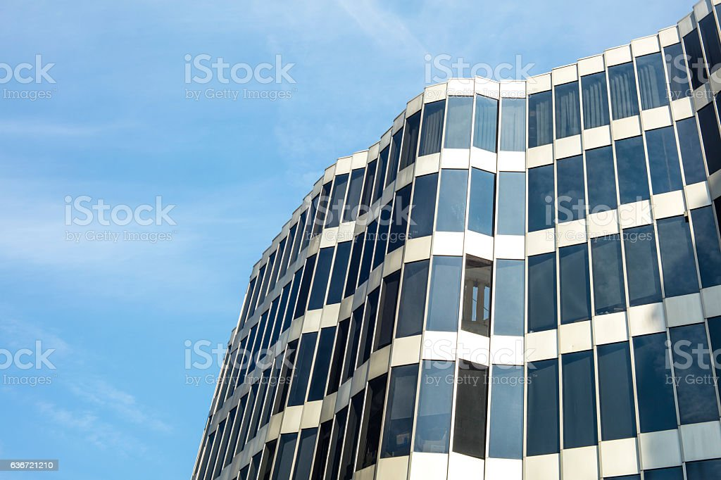 Glass architecture. Modern office building facade on a sunny day stock photo