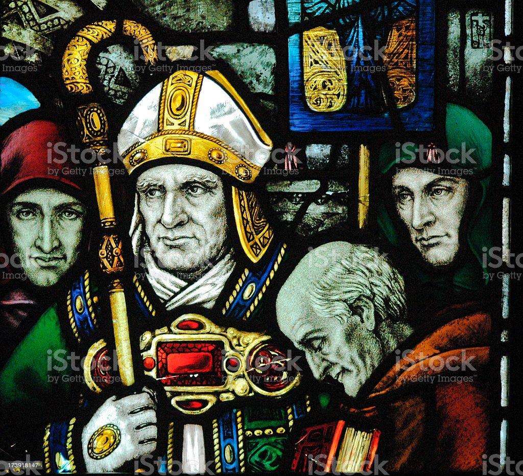 Glass art of Saint Patrick close-up stock photo