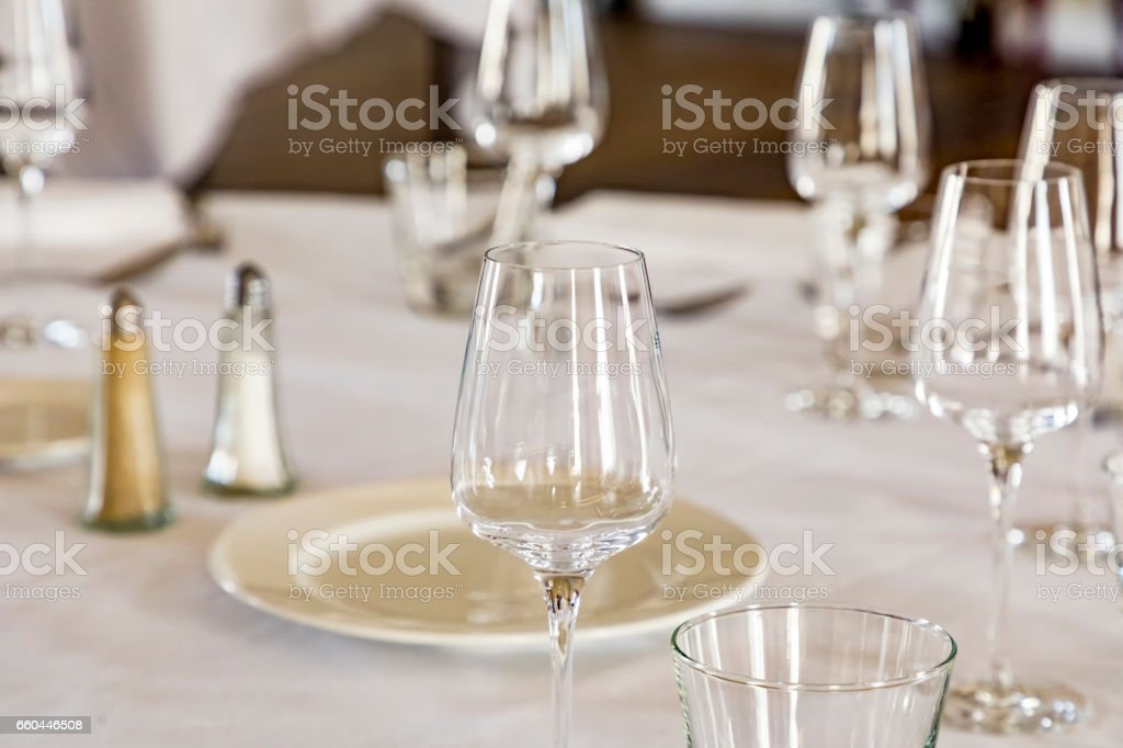 glass at the dining table stock photo