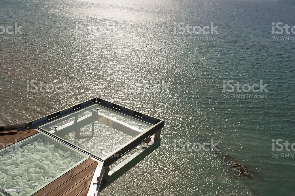 Glass balcony view point above the sea royalty-free stock photo