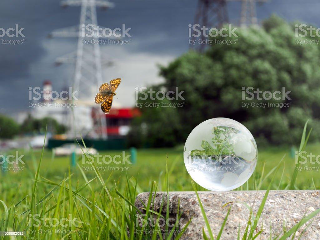 Glass ball on concrete, green grass stock photo