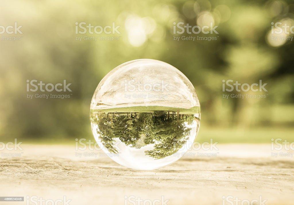 Glass ball on nature stock photo