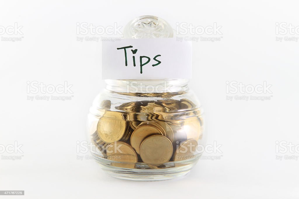 Glass bank for tips royalty-free stock photo