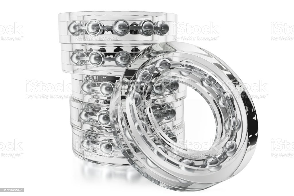 Glass bearings on a white background from different point of view, 3d rendering stock photo