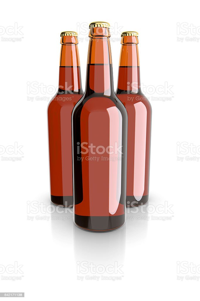 Glass beer bottles on a white background. royalty-free stock photo