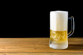 glass beer on a wooden