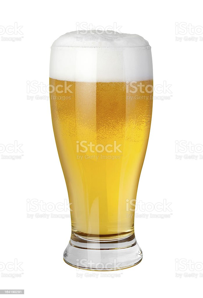 Glass beer with a Frothy Foam Head stock photo