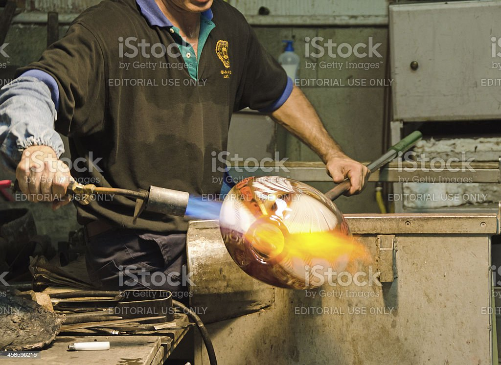 Glass Blower at Work stock photo