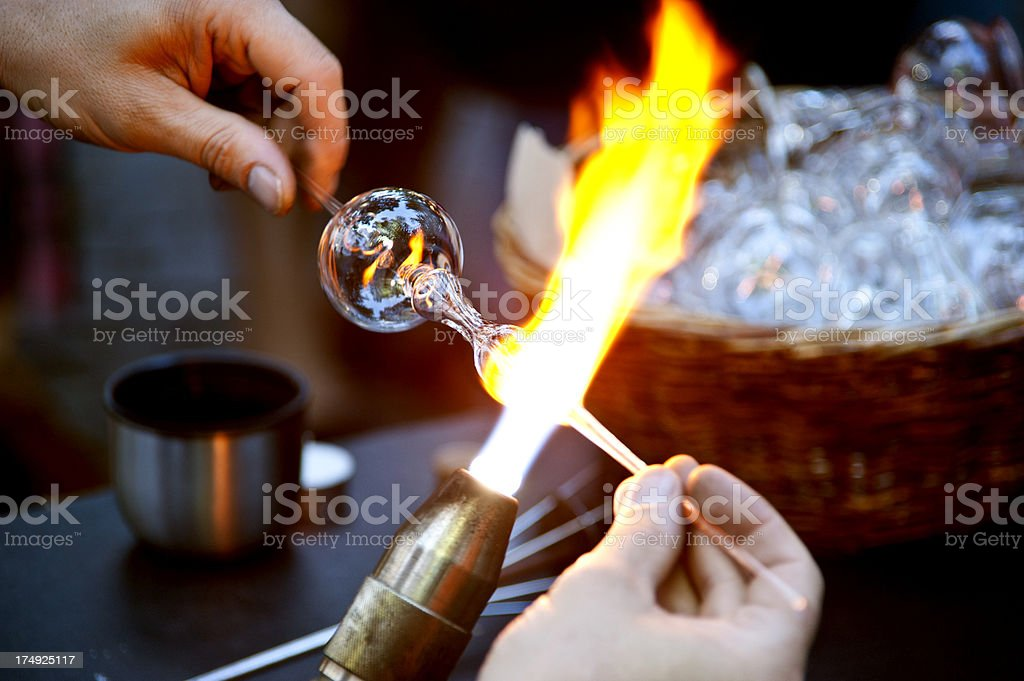 glass blower stock photo