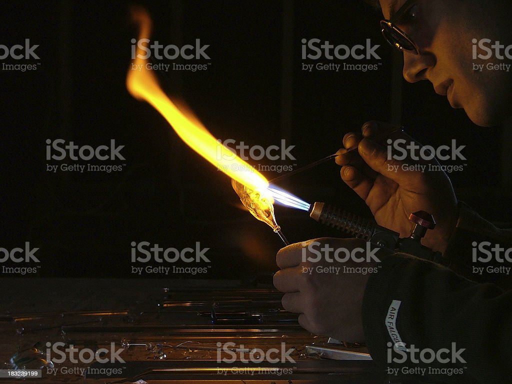 glass blowers flame stock photo