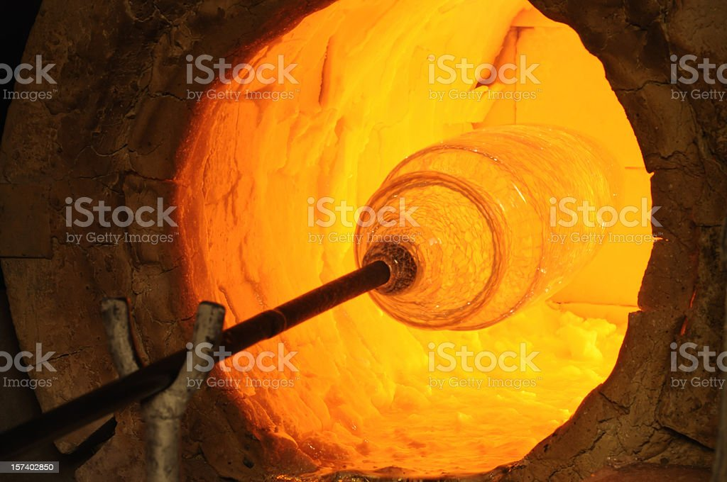 Glass Blowing in Furnace stock photo
