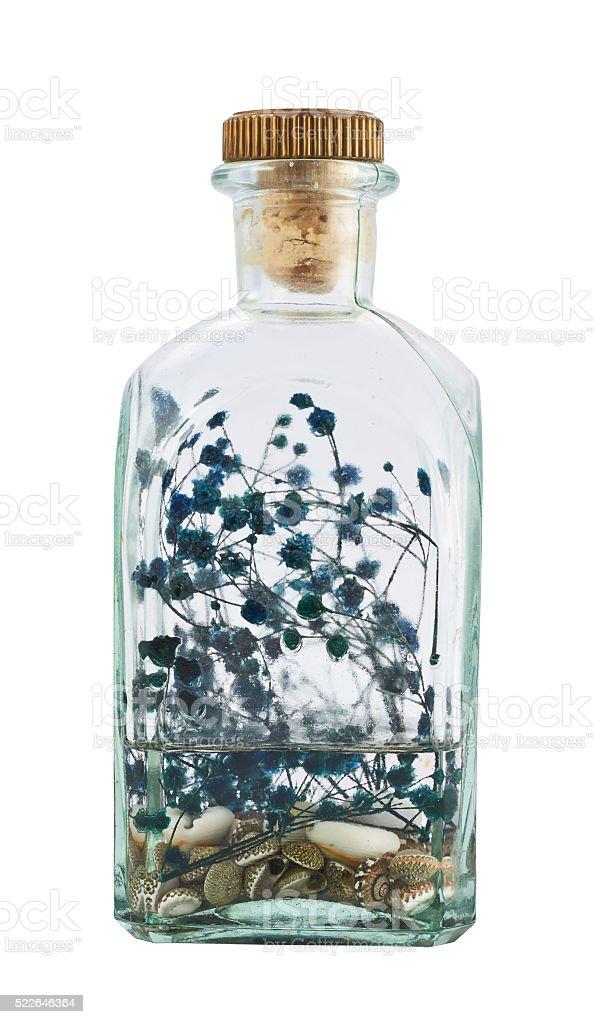Glass bottle full of herbs stock photo