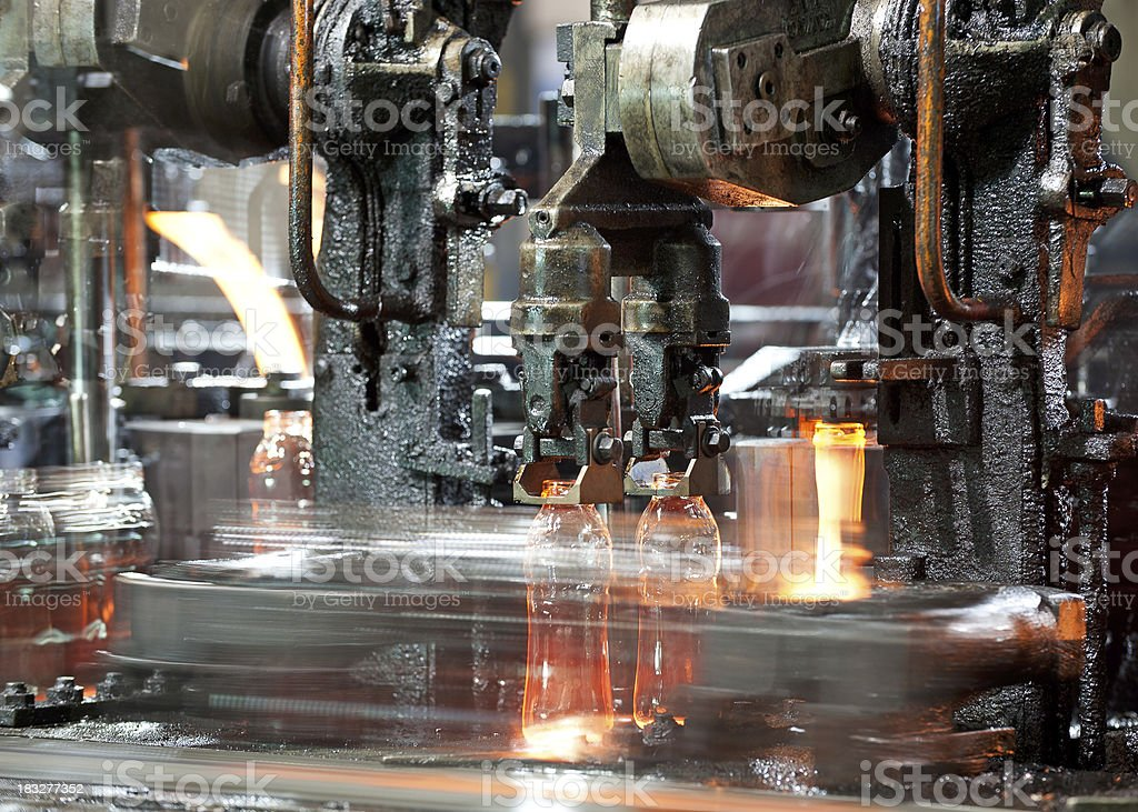 Glass bottle manufacturing. stock photo