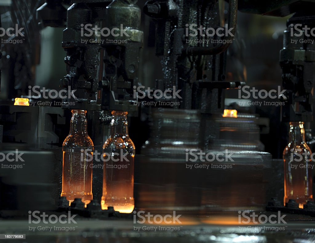 Glass bottle manufacturing stock photo