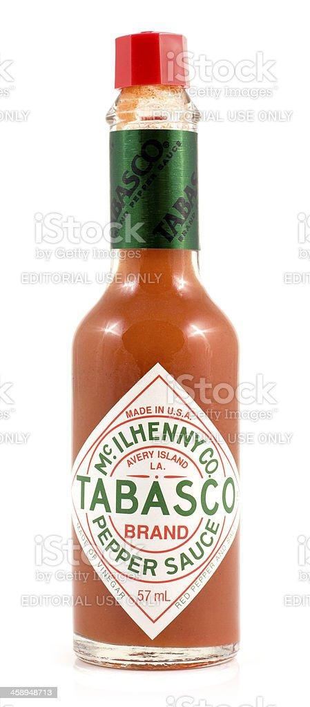 Glass bottle of tabasco red hot chilli pepper sauce royalty-free stock photo