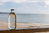 glass bottle on the beach