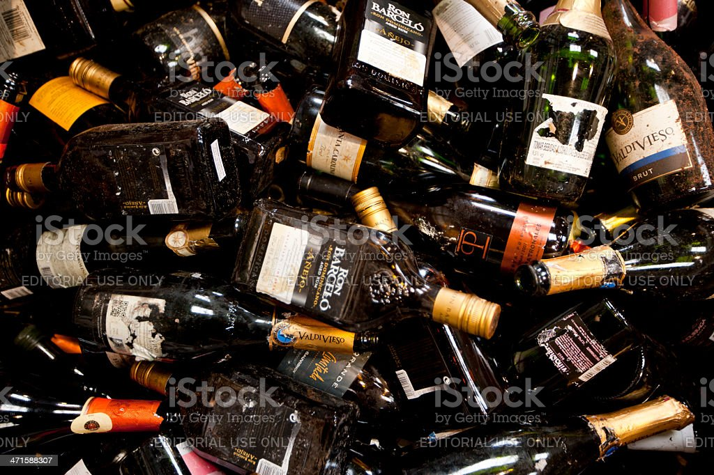 glass bottle recycling stock photo