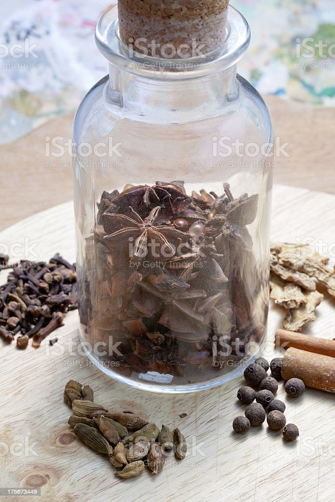 glass bottle with spices royalty-free stock photo