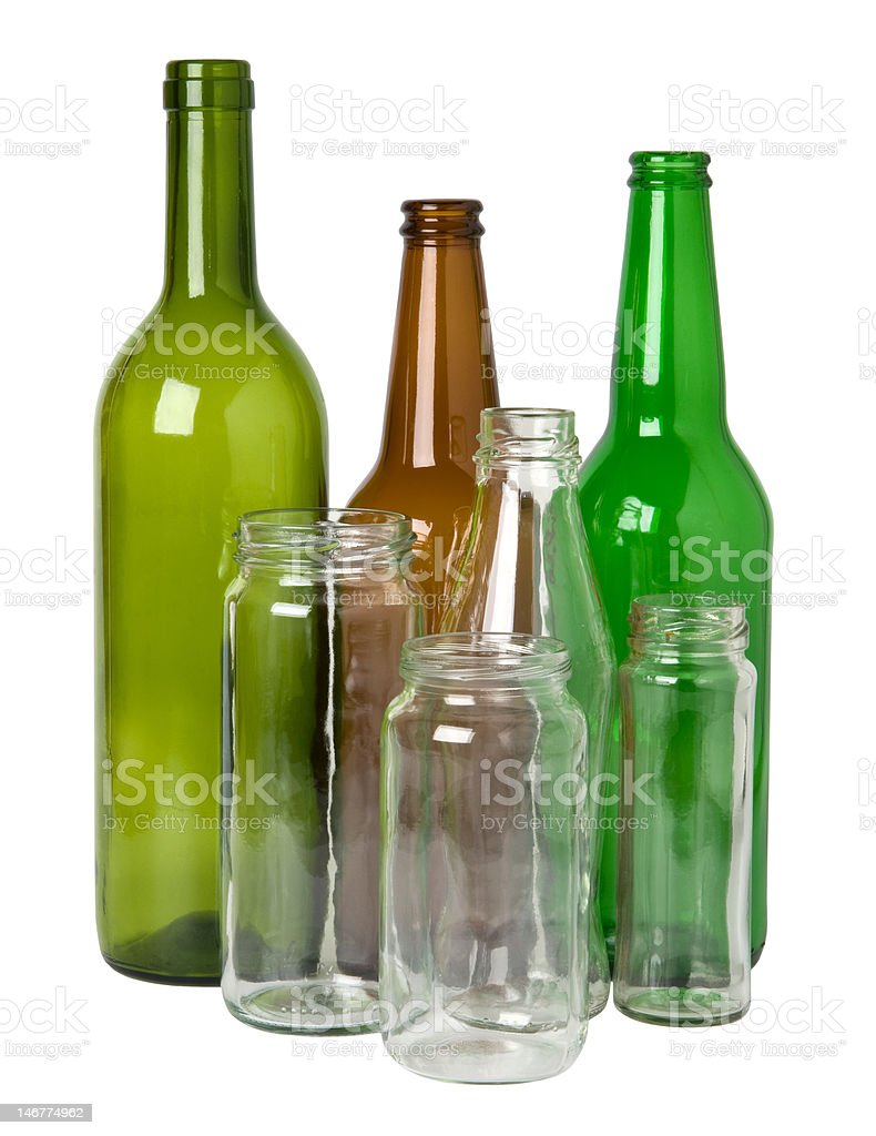 Glass bottles and jars stock photo