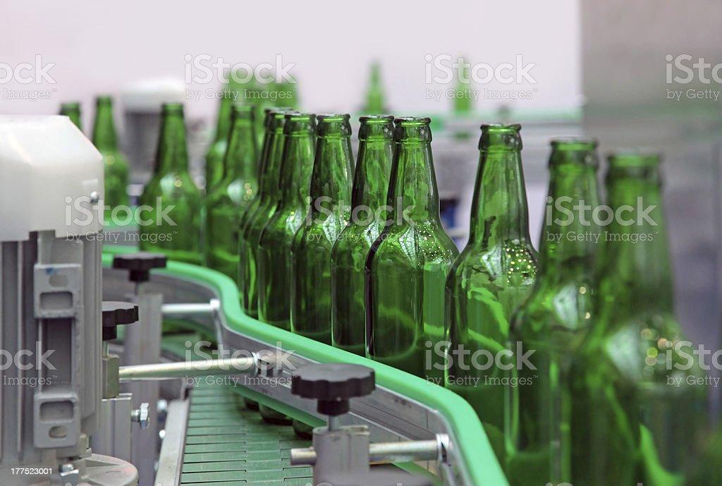 Glass bottles for beer stock photo