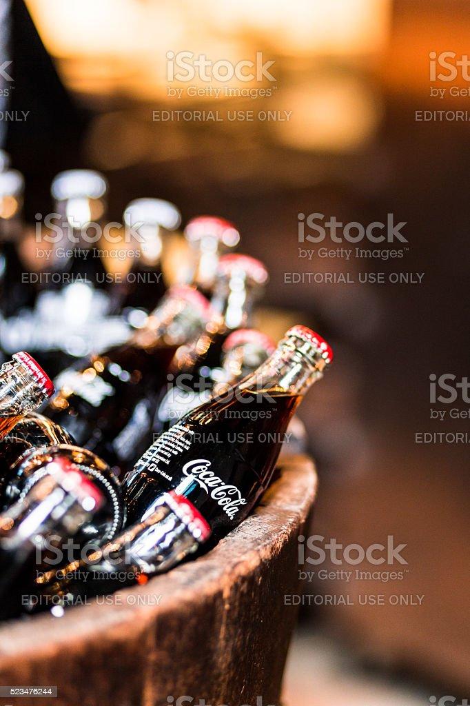 Glass bottles of Coca Cola for sale, Borough Market, London stock photo
