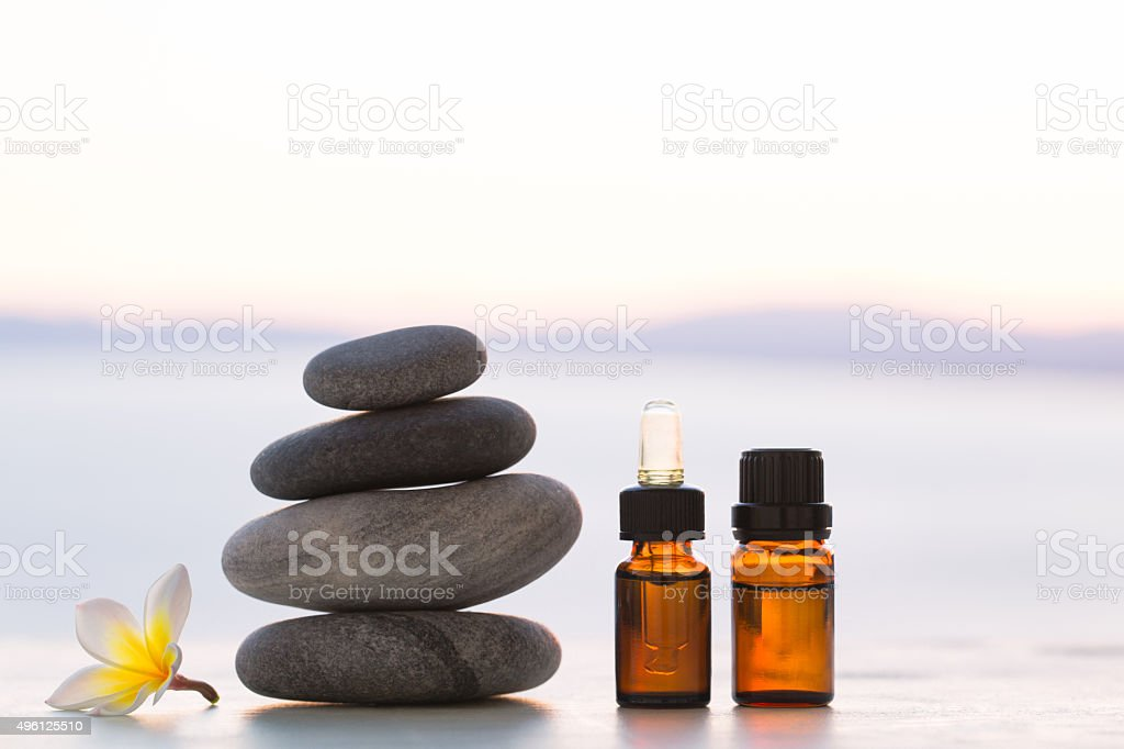 Glass bottles with cosmetic stock photo