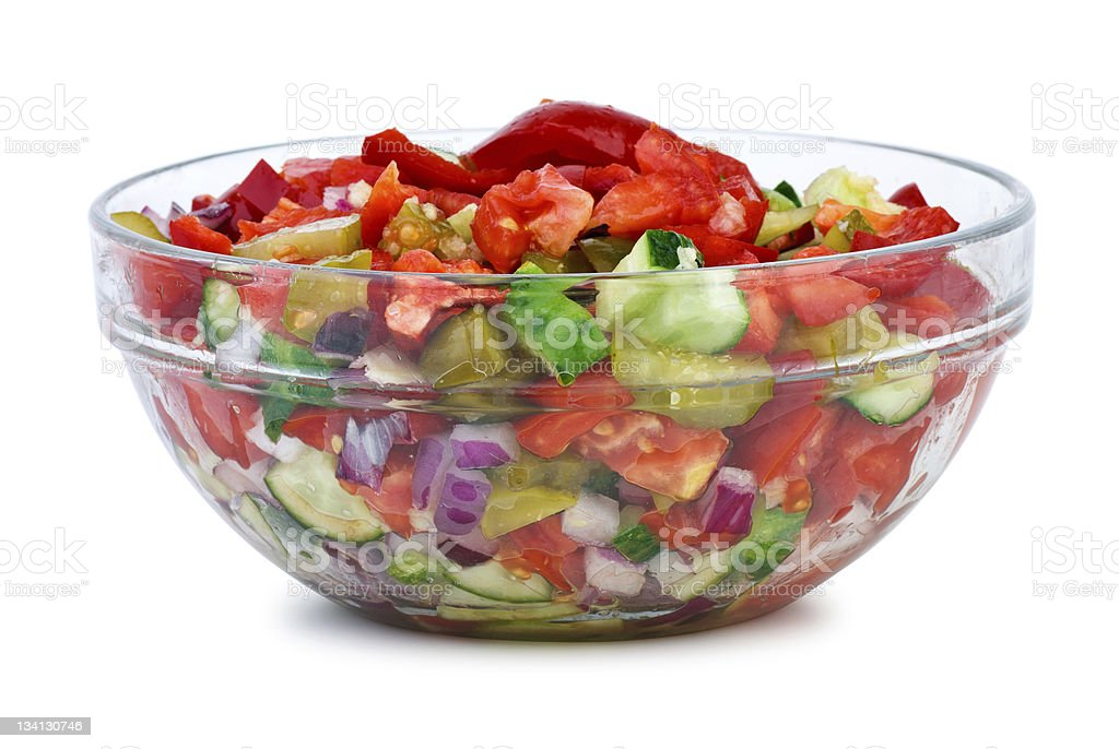 Glass bowl with vegetable salad royalty-free stock photo