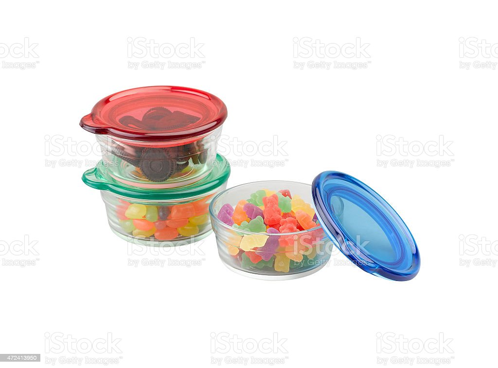 glass bowls with plastic lids stock photo