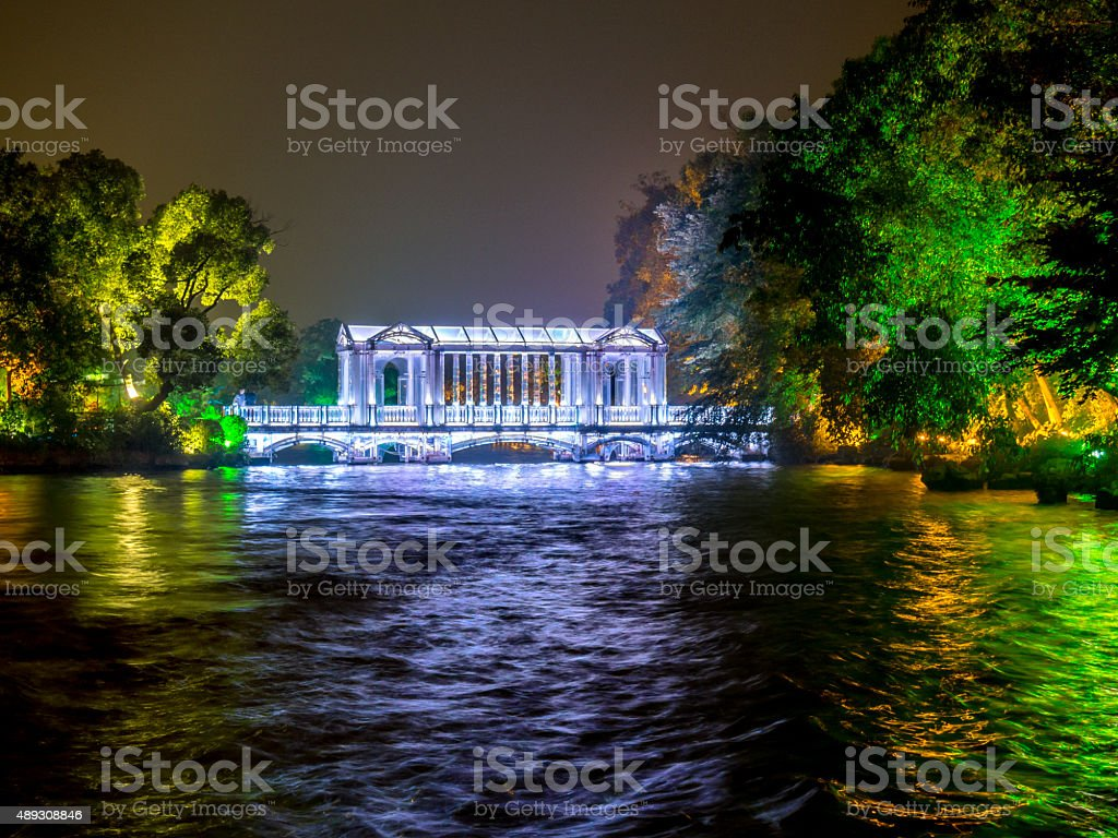 Glass bridge at Fir Lake in downtown Guilin, China stock photo