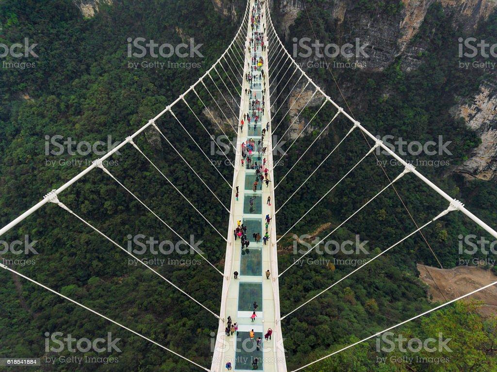 Glass bridge of Zhangjiajie China stock photo