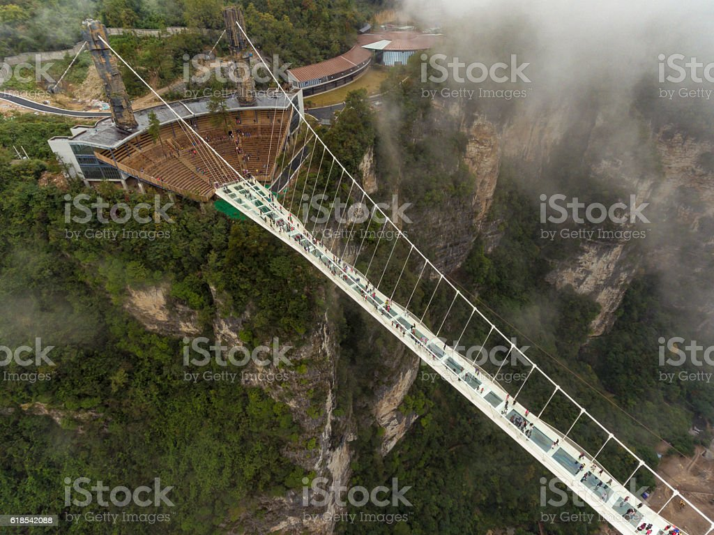 Glass bridge of Zhangjiajie China stock photo