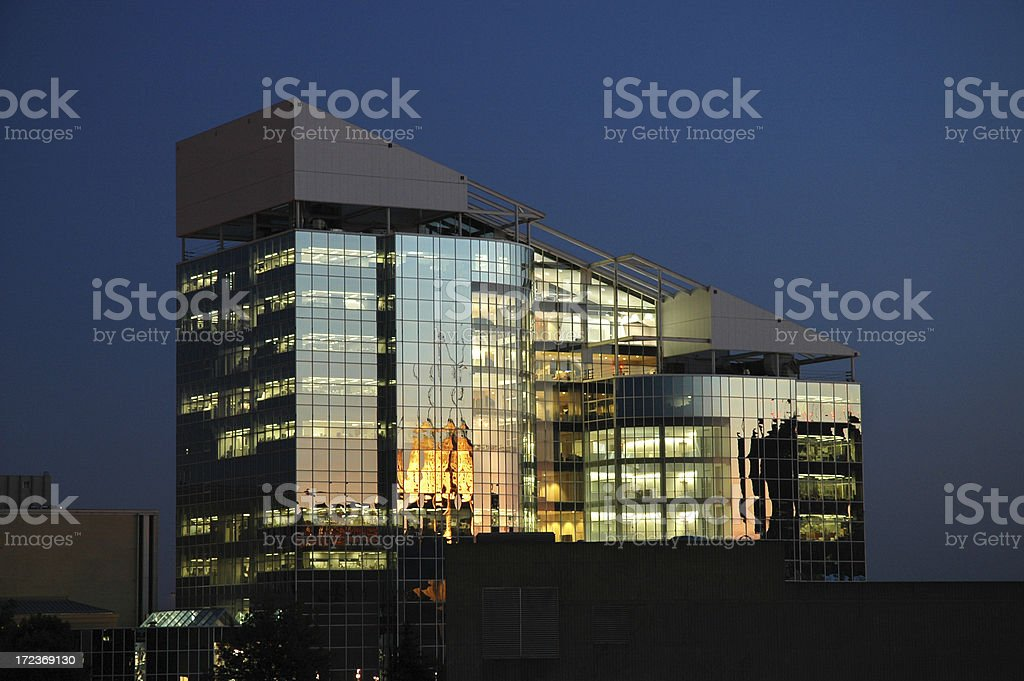 Glass Building at Sunset - Akron, OH stock photo