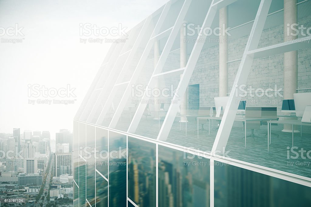 Glass building exterior and interior stock photo