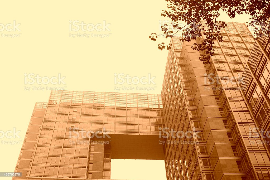 Glass Building in a university campus stock photo
