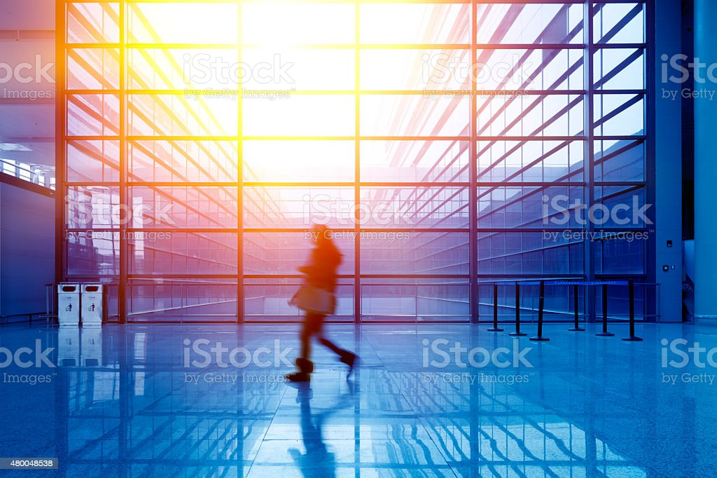 Glass building interior stock photo