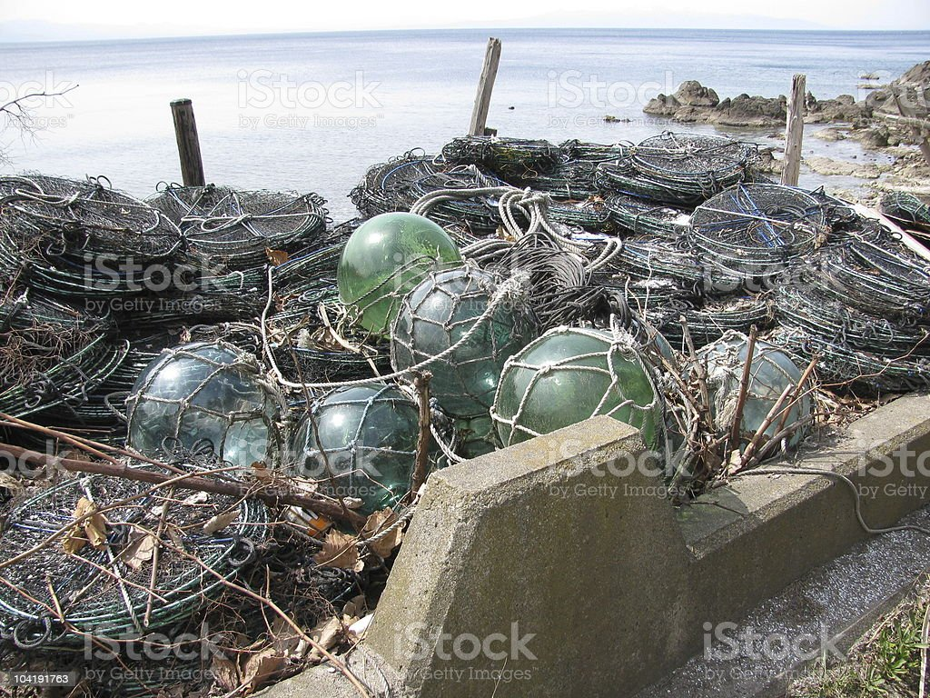Glass Buoys and Fishing Gear in Japan stock photo