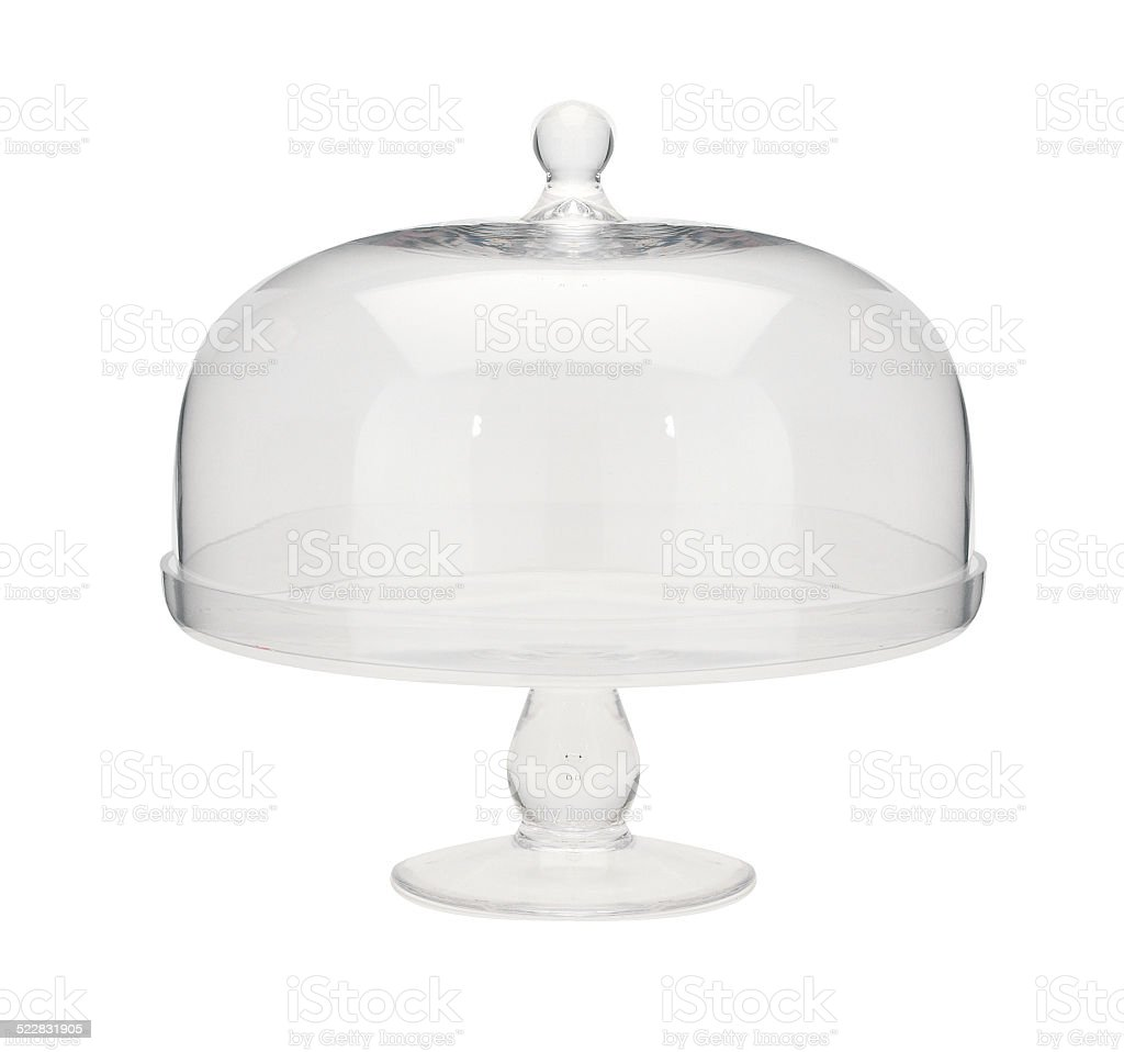 Glass cake stand. stock photo