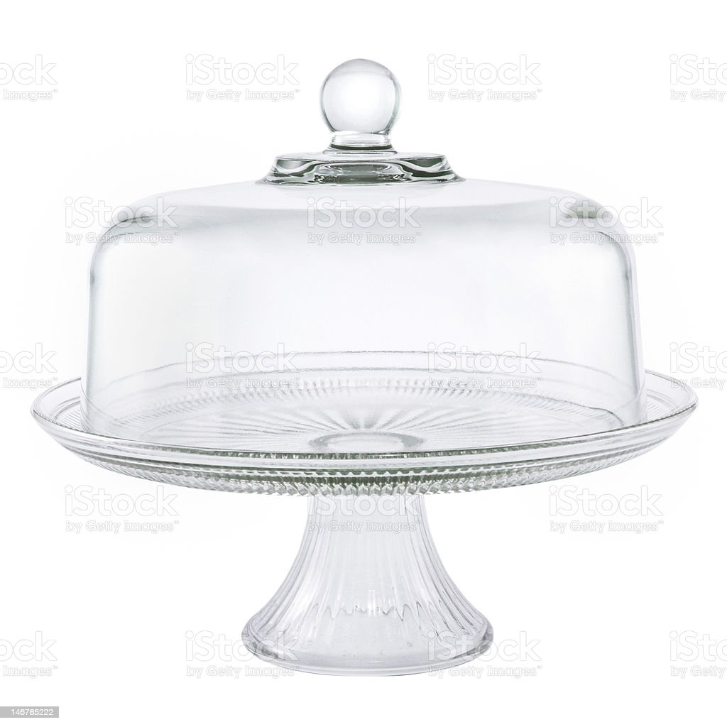 Glass Cake Stand with Cover stock photo