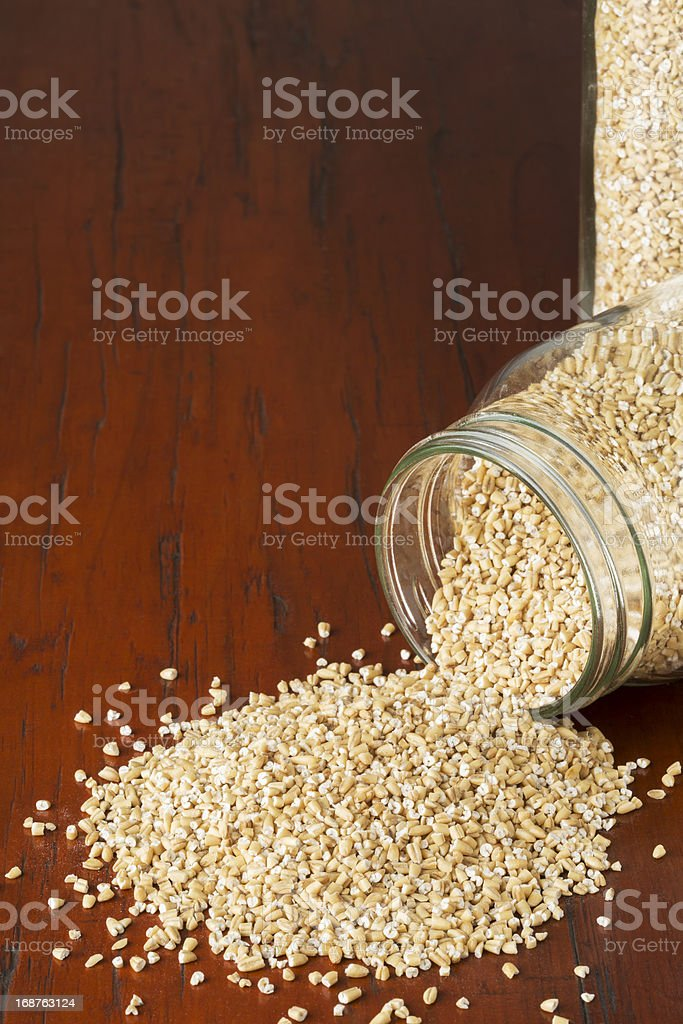 Glass Canning Jars With Steel Cut Oats stock photo
