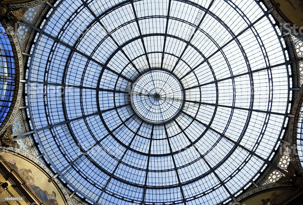 Glass Ceiling At The Milan Gallery royalty-free stock photo