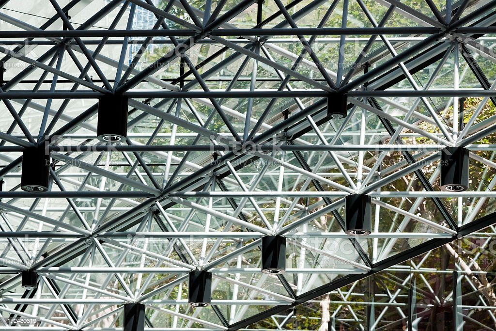 Glass ceiling with steel structure frame royalty-free stock photo