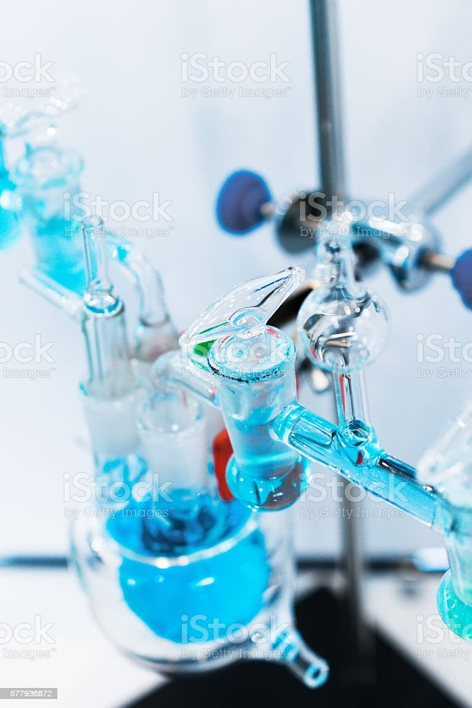 Glass chemical equipment, pipes and shut-off valves. stock photo