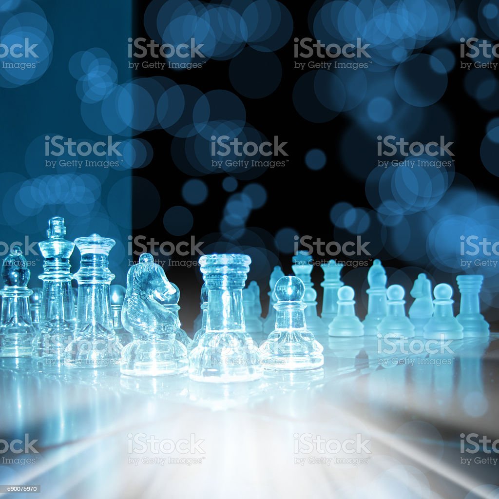 glass chess board stock photo