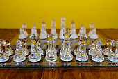 Glass Chess Men Set Up In Starting Position