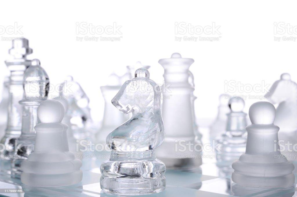 Glass chess set royalty-free stock photo