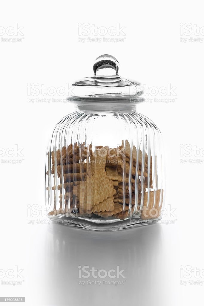 Glass Cookie Jar With Cookies royalty-free stock photo