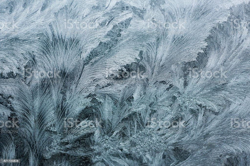 Glass covered with ice during the severe frosts in winter stock photo