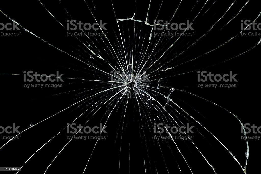 Glass cracked isolated on black stock photo